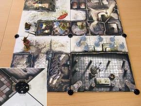 Tile links - Zombicide - Arcadia Quest (16pcs) in Black Natural Versatile Plastic