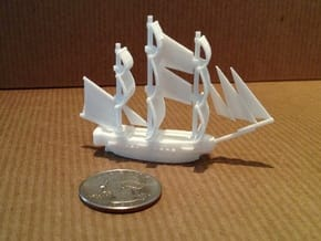 HMS Surprise ~1/1000 scale in White Natural Versatile Plastic