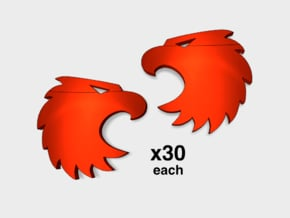 60x Mentors: Left & Right Shoulder Insignias in Smooth Fine Detail Plastic