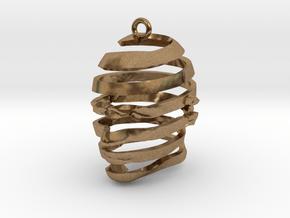 Escherian Head Earring in Natural Brass