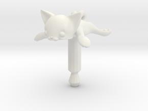 Round Flat Cat, Jack Protector Audio in White Natural Versatile Plastic