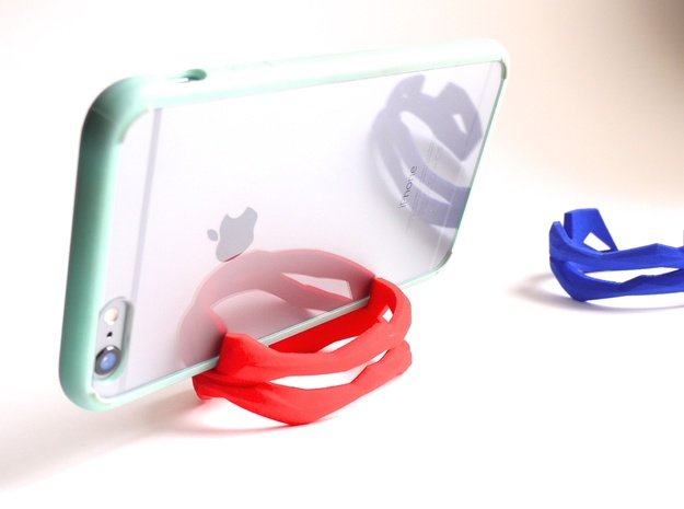 iPhone Stand - ST(r)AND CUFF - iPhone 7 / 6 / Plus in Red Processed Versatile Plastic: Small