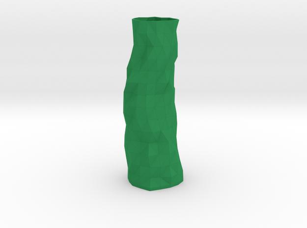 Geometric Vase  in Green Processed Versatile Plastic