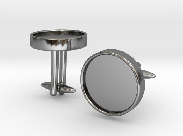 Round Cufflinks (D14) (Ellipsoid) in Fine Detail Polished Silver