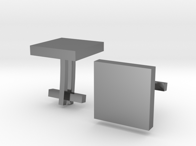 Square Cufflinks in Fine Detail Polished Silver