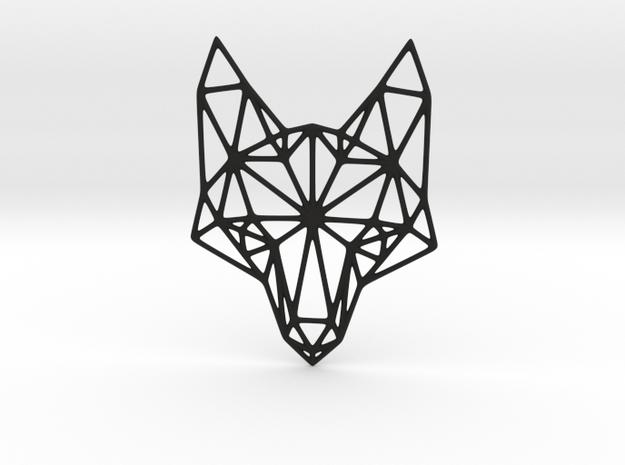 Geometric Fox Head Pendant in Black Natural Versatile Plastic