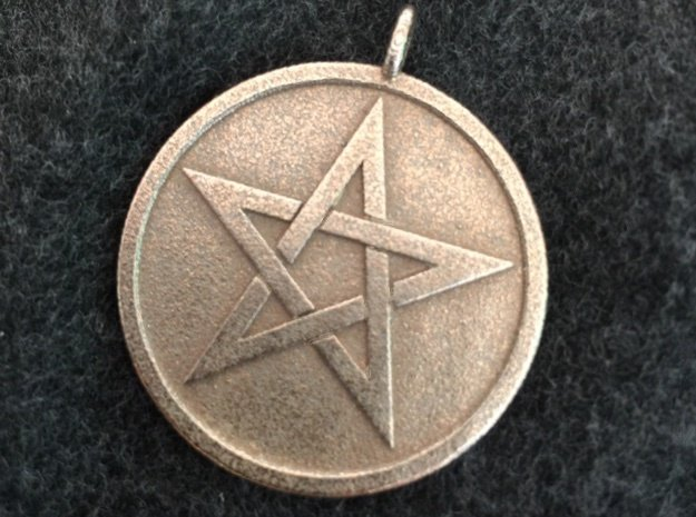 Solid Pentacle Pendant in Polished Bronzed Silver Steel