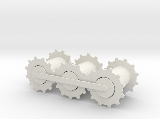 Gears in a row in White Natural Versatile Plastic