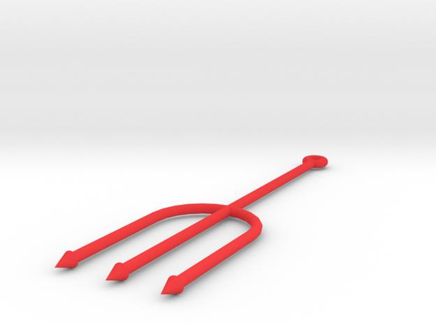 Trident Keychain in Red Processed Versatile Plastic