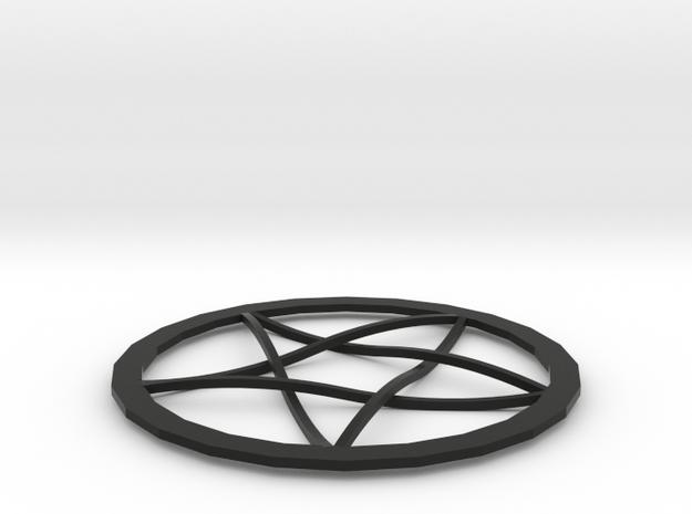 Pentagram Pendent in Black Natural Versatile Plastic