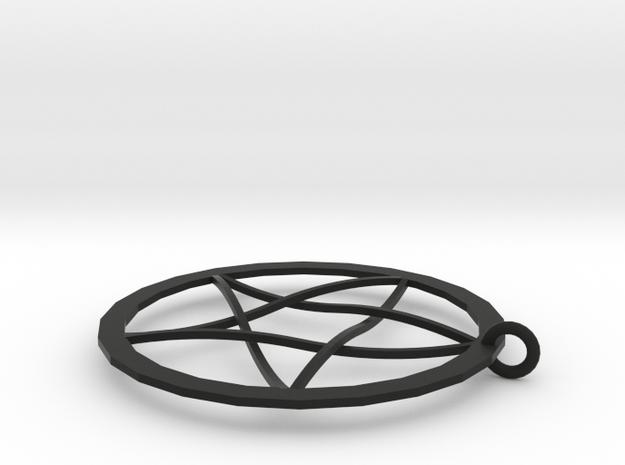 Pentagram Pendent(with Ring) in Black Natural Versatile Plastic