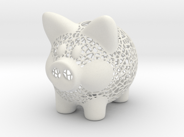 Peek A Boo Piggy Bank 1 in White Natural Versatile Plastic