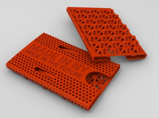 Business card case -Made in NY, Made in the Future in Red Processed Versatile Plastic
