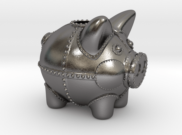 Steampunk Piggy Bank 4 Inch Tall in Polished Nickel Steel