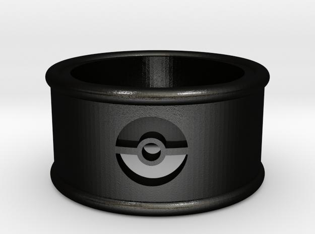 Pokeball Cutout Ring size 7 in Matte Black Steel
