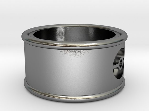 Pokeball Cutout Ring.stl in Polished Silver