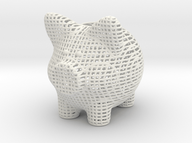 Wire Frame Piggy Bank 6 Inch Tall in White Natural Versatile Plastic