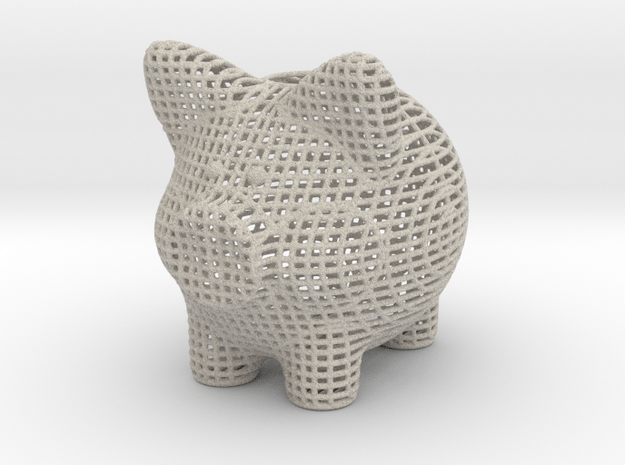 Wire Frame Piggy Bank 2 Inch Tall in Natural Sandstone