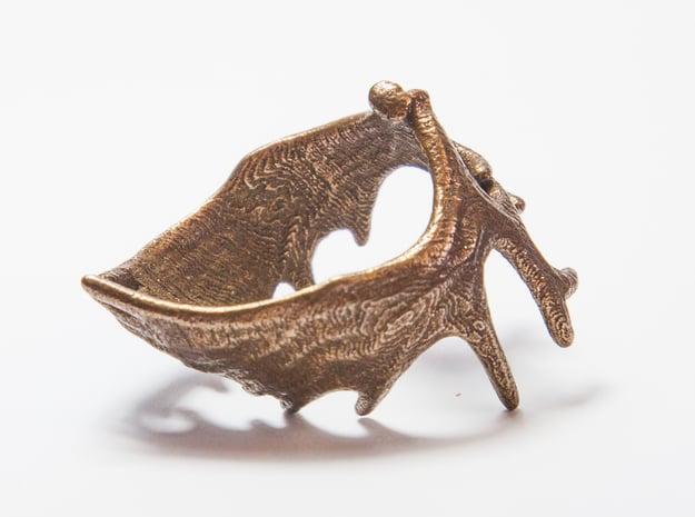(Size 13) Moose Antler Ring in Polished Bronze Steel