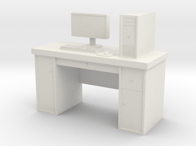 1:35 Scale PC With Desk in White Natural Versatile Plastic