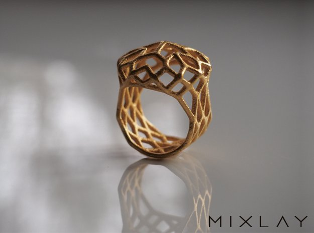 Ring Noble 18 in Polished Gold Steel
