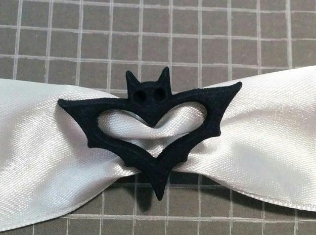 Bat Ribbon Charm in Black Natural Versatile Plastic