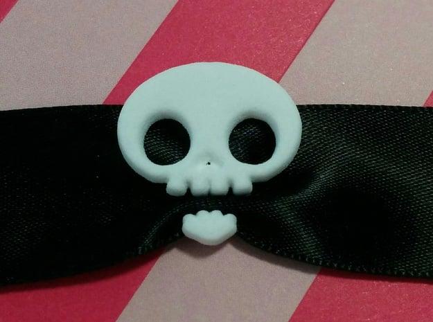 Skull Ribbon Charm in White Natural Versatile Plastic