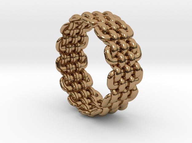 Wicker Pattern Ring Size 6 in Polished Brass