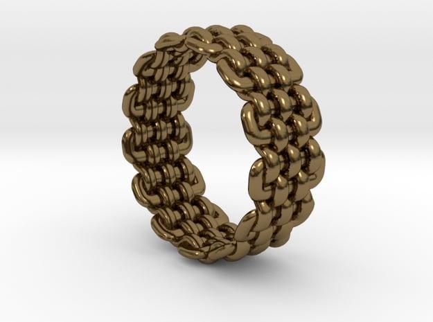 Wicker Pattern Ring Size 7 in Polished Bronze
