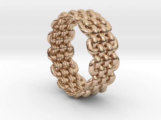 Wicker Pattern Ring Size 8 in 14k Rose Gold Plated Brass