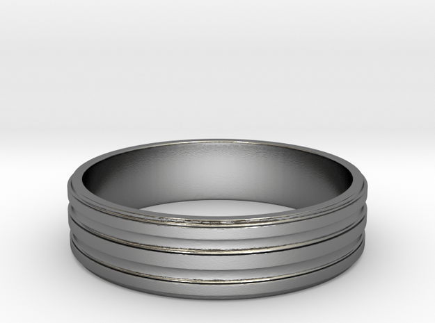Back to Basic Collection - Round beveled ring in Polished Silver