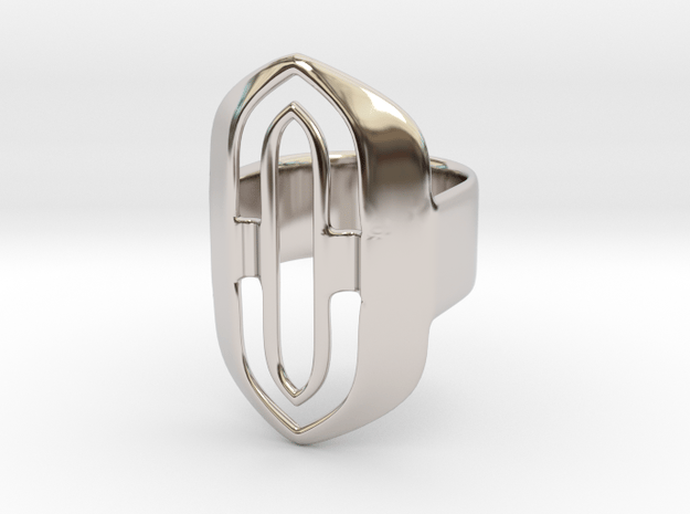 Out of borders collection - size 6 US in Rhodium Plated Brass