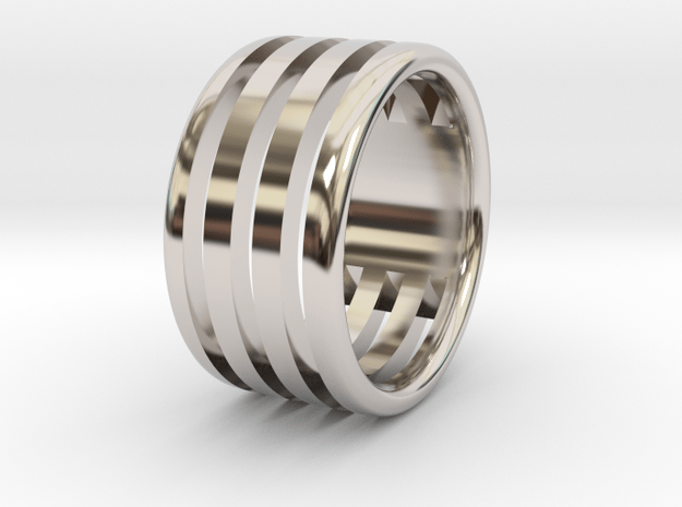 Back to basic collection - size 6 US in Rhodium Plated Brass