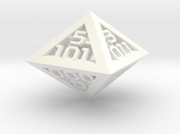 3 Bit Binary dice in White Processed Versatile Plastic