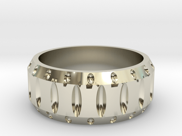Mens cutout wedding band in 14k White Gold