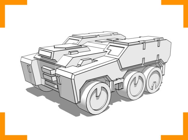 'Broadside' Armored Truck 6mm in White Natural Versatile Plastic