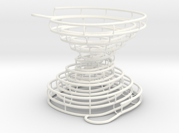 Hour-Glass Spiral Marble-Run  in White Processed Versatile Plastic