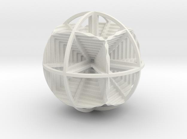 CUBES IN SPHERE in White Natural Versatile Plastic