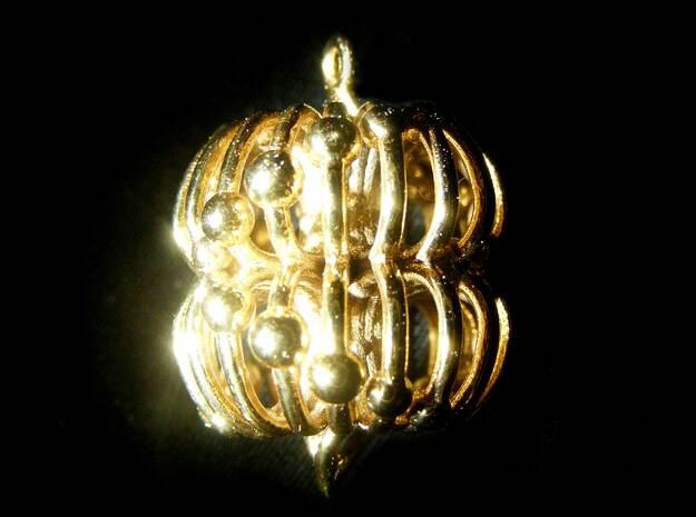 Double Torus Electromagnetic Field 23mm pendant in 14k Gold Plated Brass