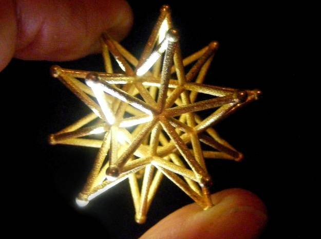 Stellated Icosahedron 40mm Sacred Geometry in Polished Gold Steel