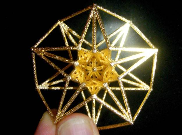 5 dimensional Toridal HyperCube 50mm 5D in Polished Gold Steel