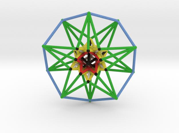 5D Hypercube Sacred Geometry Color lg in Full Color Sandstone