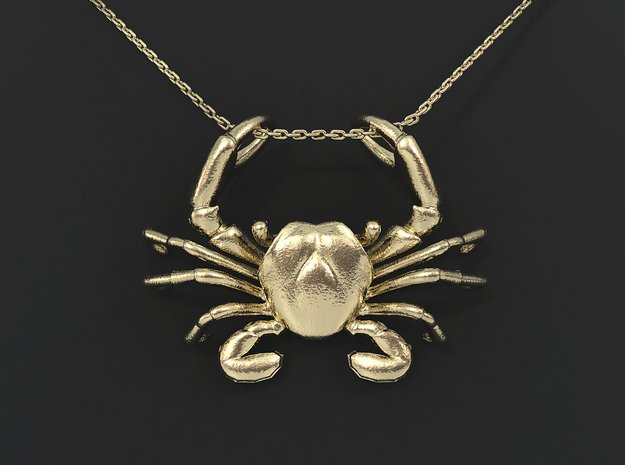 Cancer Zodiac Pendant in 14k Gold Plated Brass