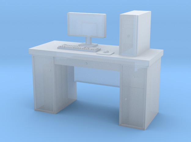 HO scale PC with desk in Smoothest Fine Detail Plastic