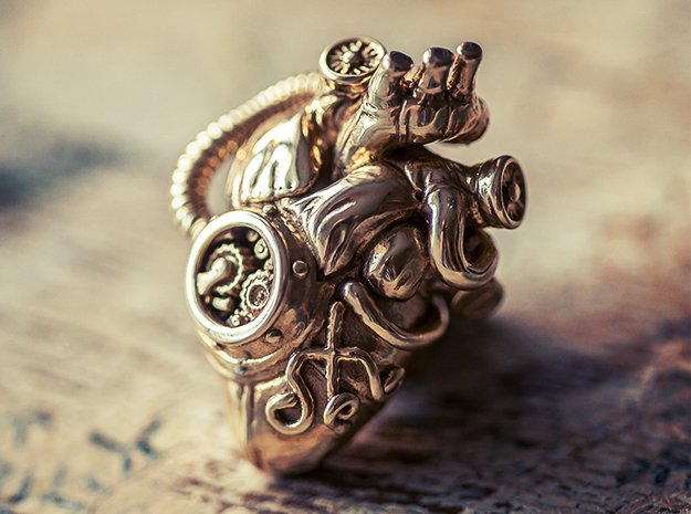 SteamPunk  Heart pendant in Polished Brass