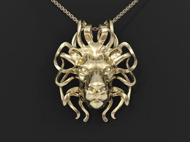 Leo Zodiac Pendant in 14k Gold Plated Brass
