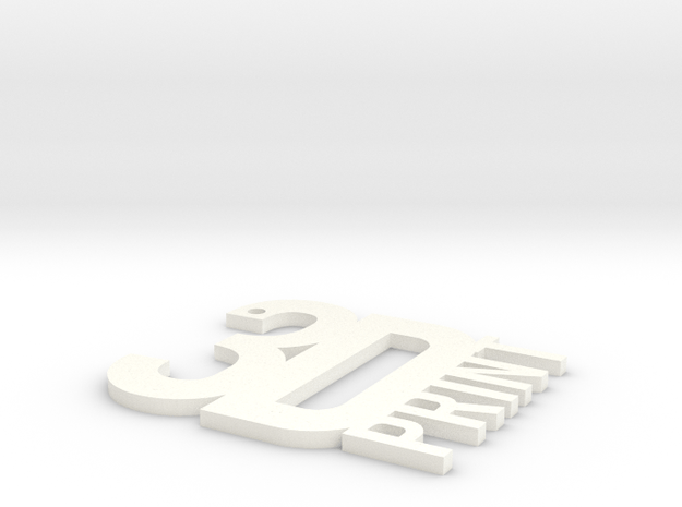 3D Print Key Ring. in White Processed Versatile Plastic