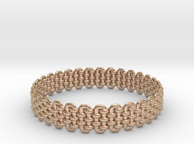 Wicker Pattern Bracelet Size 1 in 14k Rose Gold Plated Brass