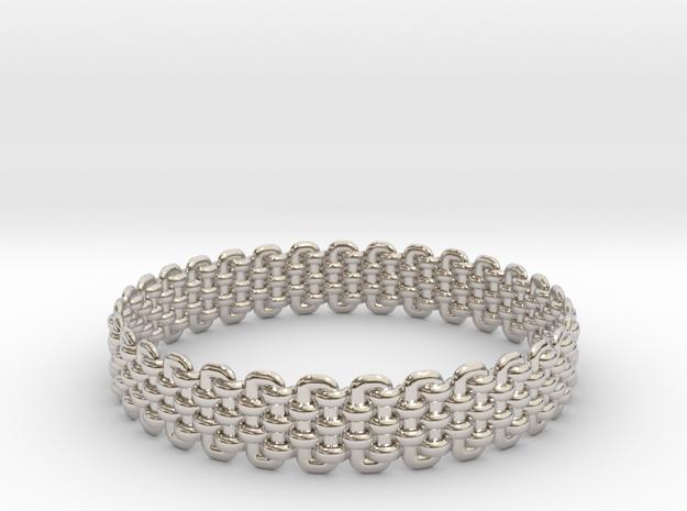 Wicker Pattern Bracelet Size 2 in Rhodium Plated Brass