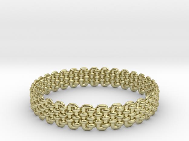Wicker Pattern Bracelet Size 3 in 18k Gold Plated Brass